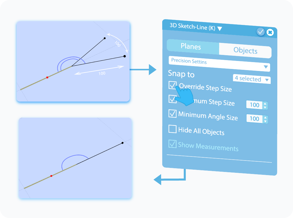 Toggle to enable the Override Step Size feature in 3D Sketch