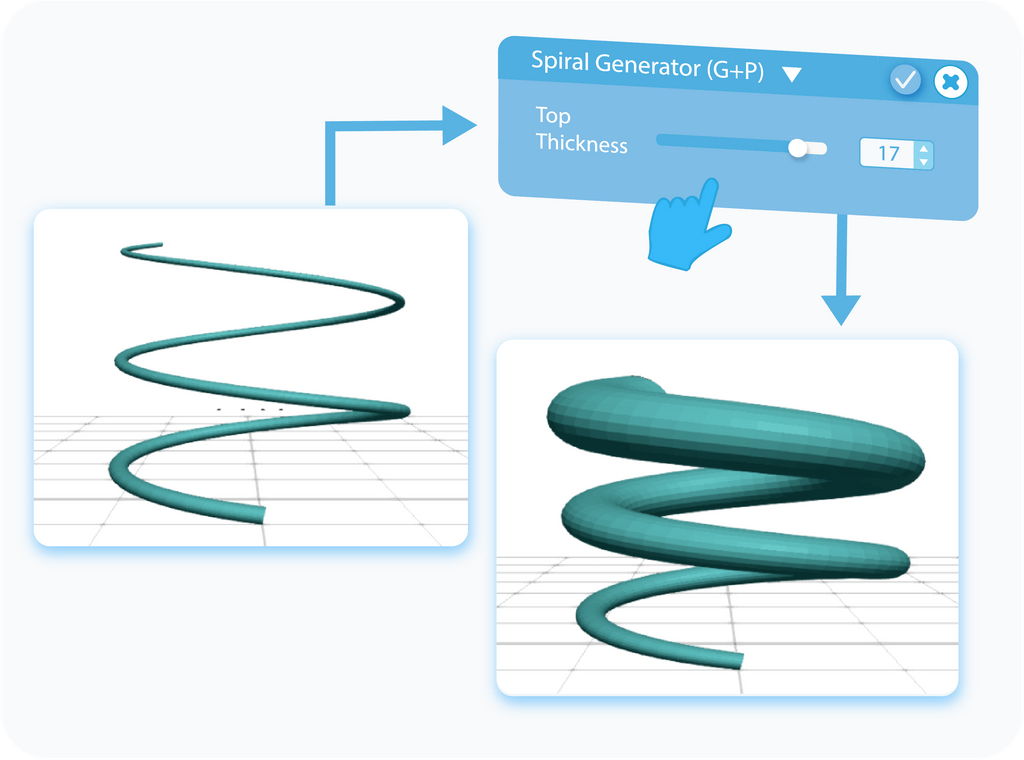 Customizing the Top Thickness for Spiral Generator with slider or text-box