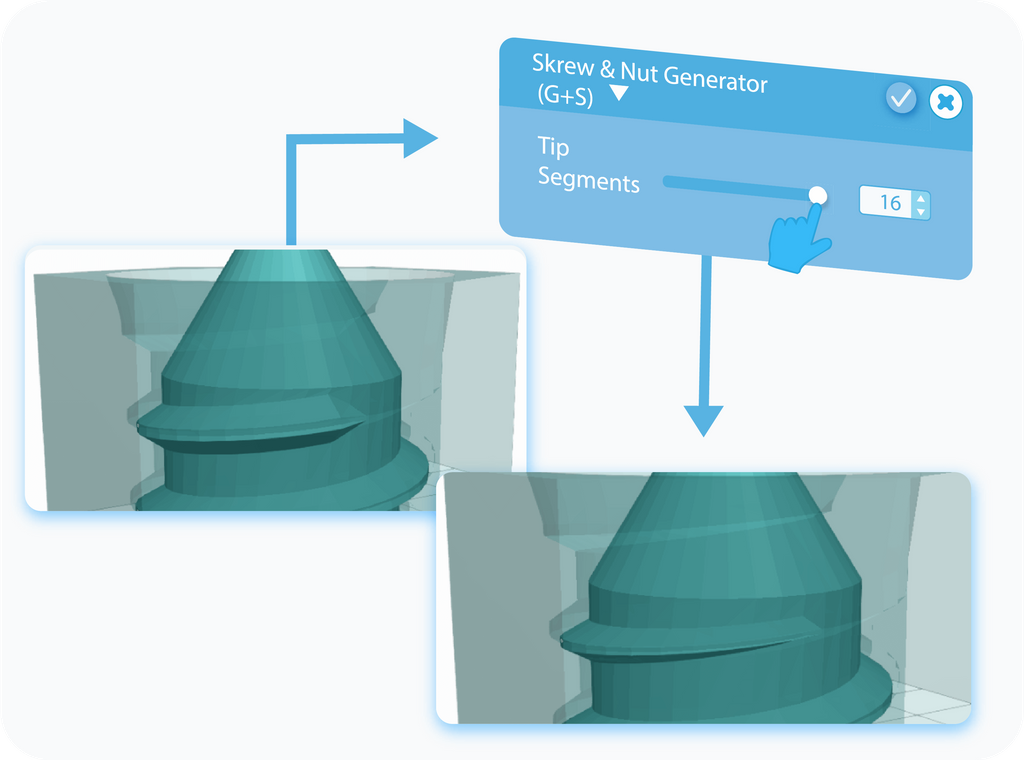 Customizing the Tip Segments feature for Screw & Nut Generator with slider or text-box