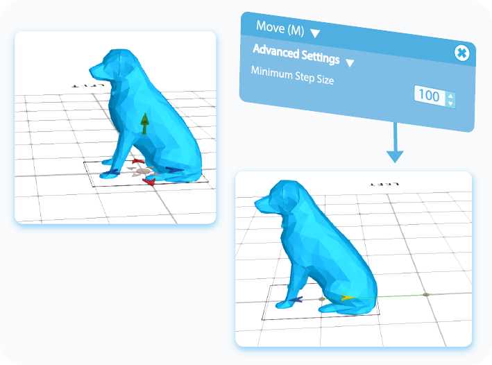 Customize the Minimum Step Size feature for the Move tool