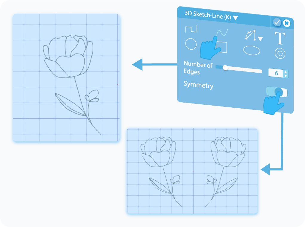 Toggle to enable the Symmetry feature for 3D Sketch