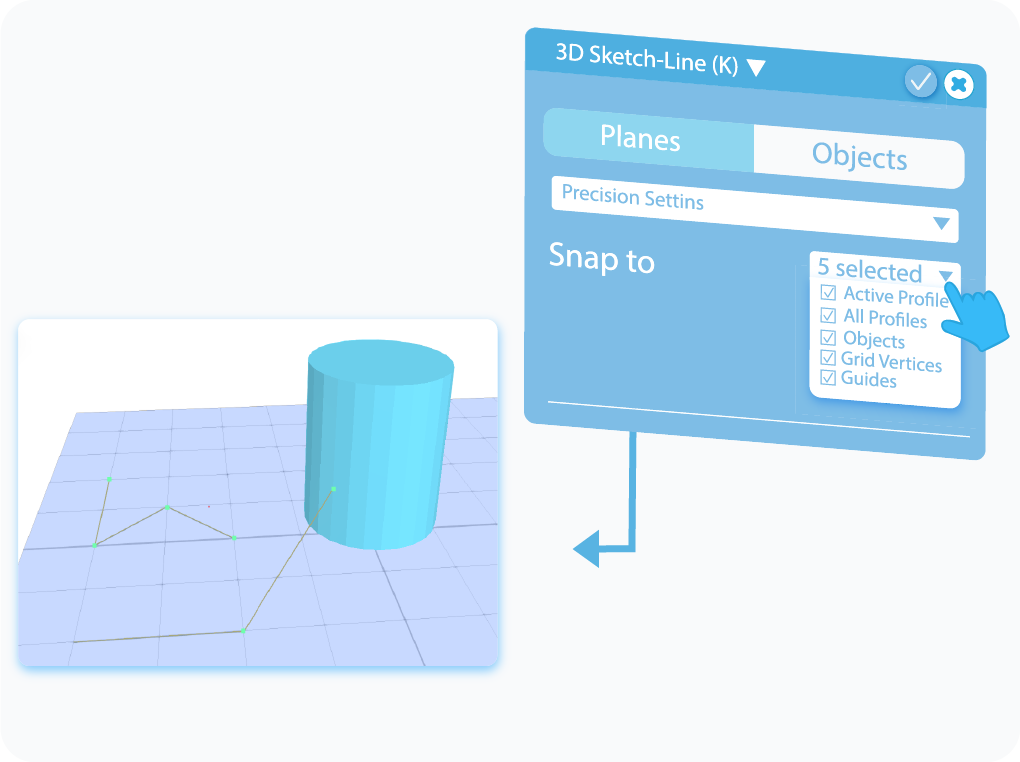 Toggle to enable different Snap to Options in 3D Sketch