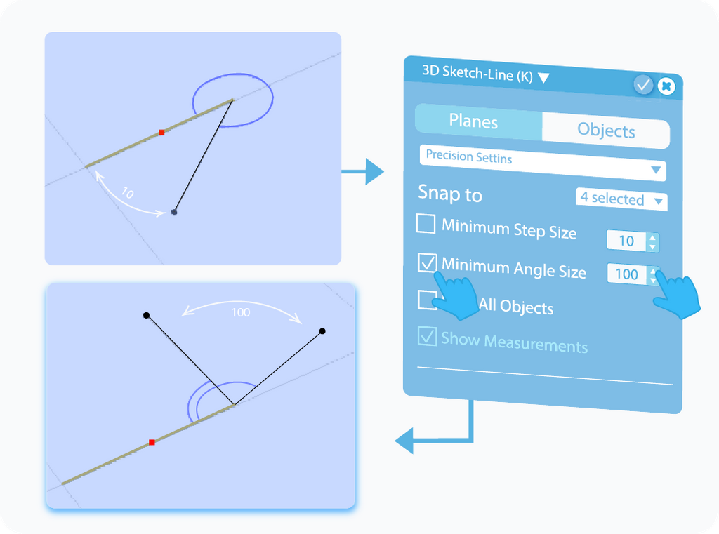 Toggle to enable and customize the Minimum Angle Step feature in 3D Sketch
