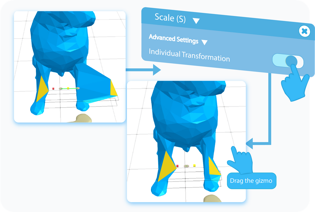 Toggle to enable the Individual Transformation option in the Advanced Settings of the Scale tool