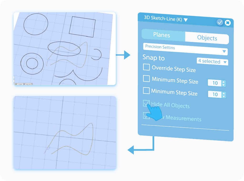 Toggle to enable Hide All Objects feature in 3D Sketch