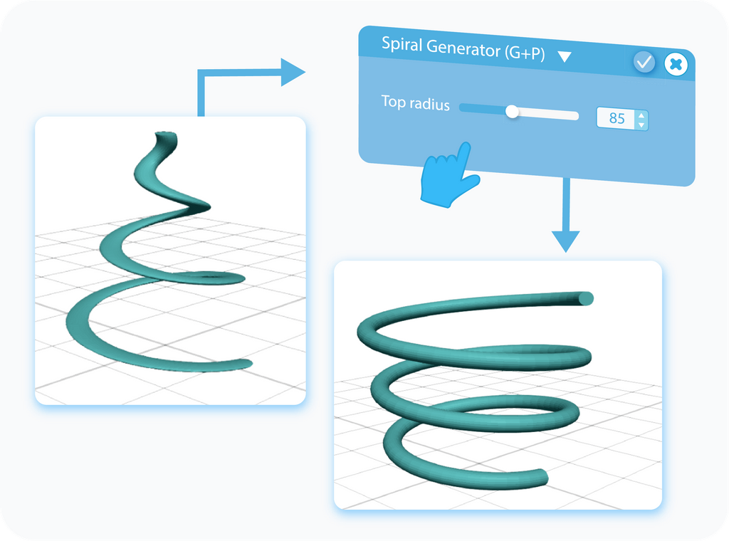 Customizing the Top Radius for Spiral Generator with slider or text-box