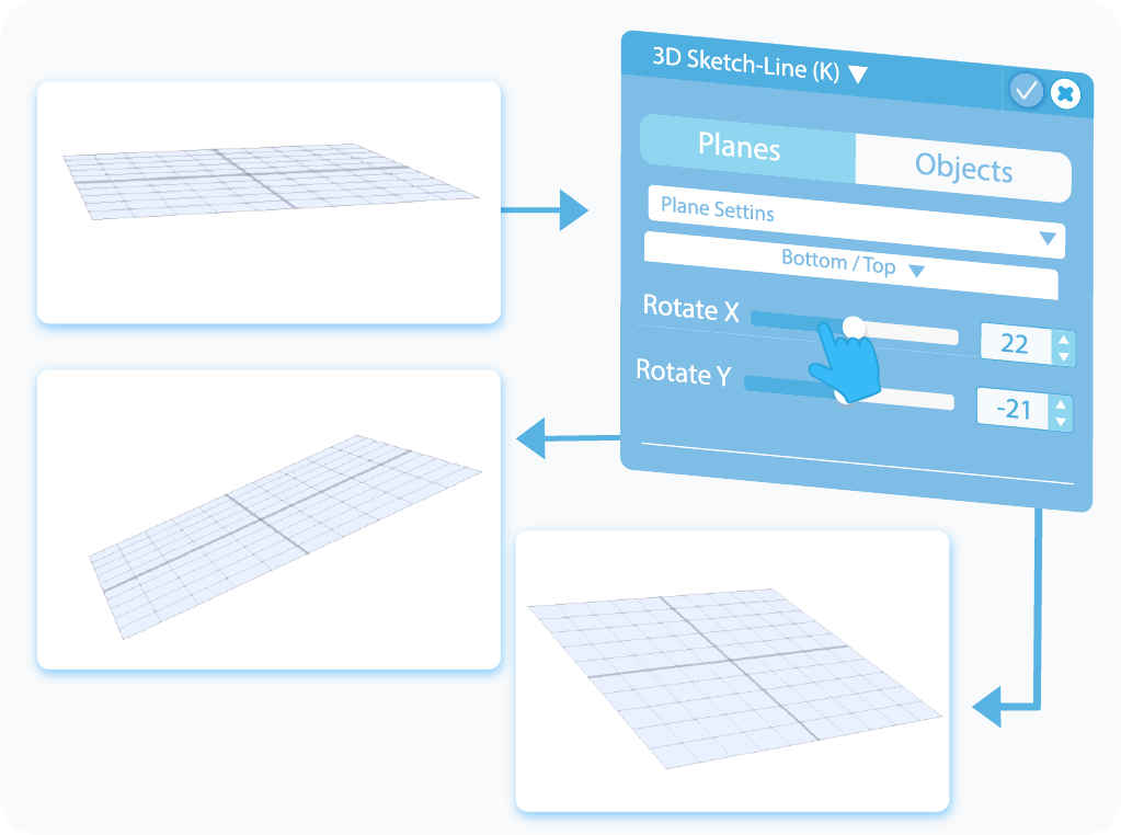 Customize the Rotation of the enabled plane with slider or test-box in 3D Sketch