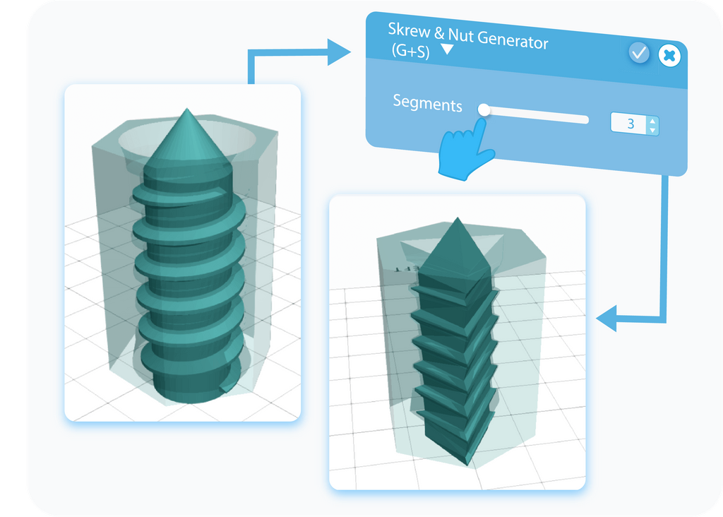 Customizing the Segments feature for Screw & Nut Generator with slider or text-box