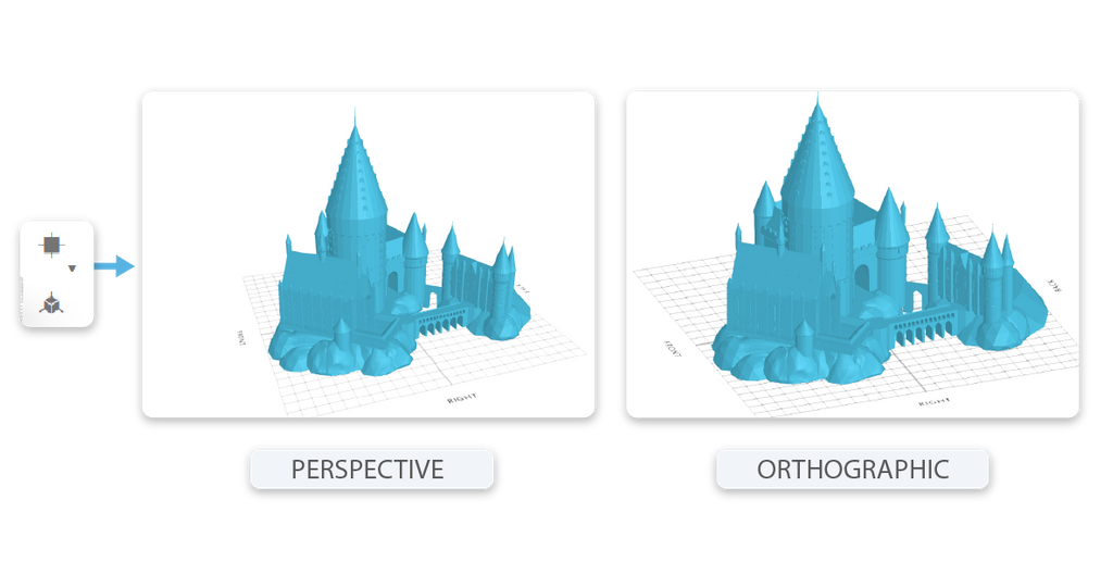 Projection: Perspective mode vs Orthographic mode