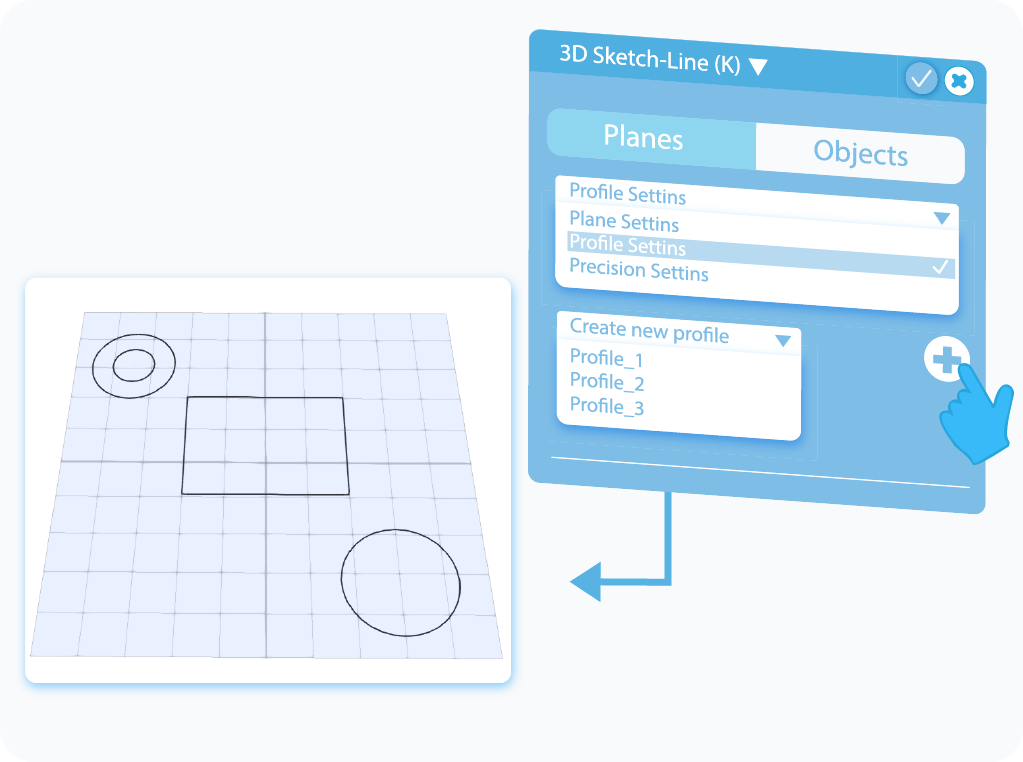 Customize Profile Settings in the 3D Sketch