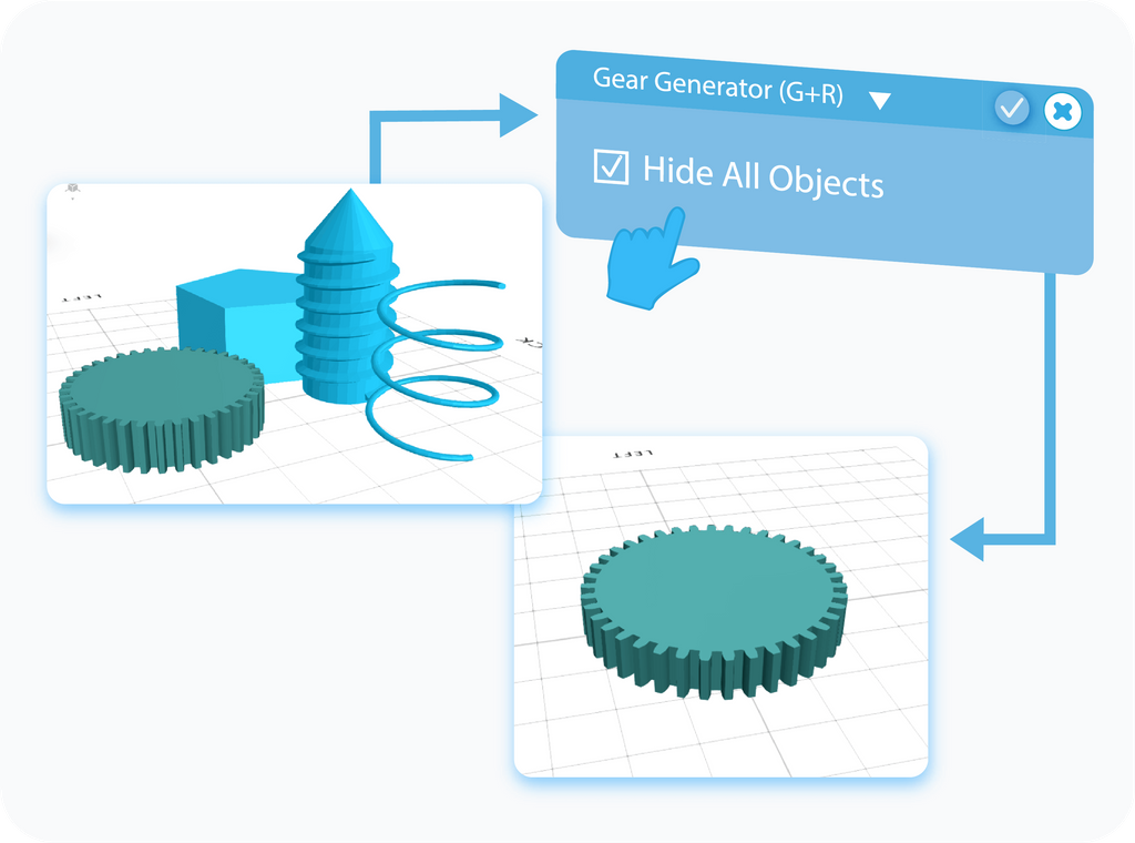 Gear Generator Hide all objects