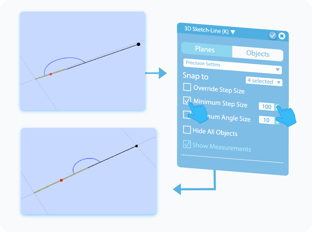 Toggle to enable and customize the Minimum Step Size feature in 3D Sketch