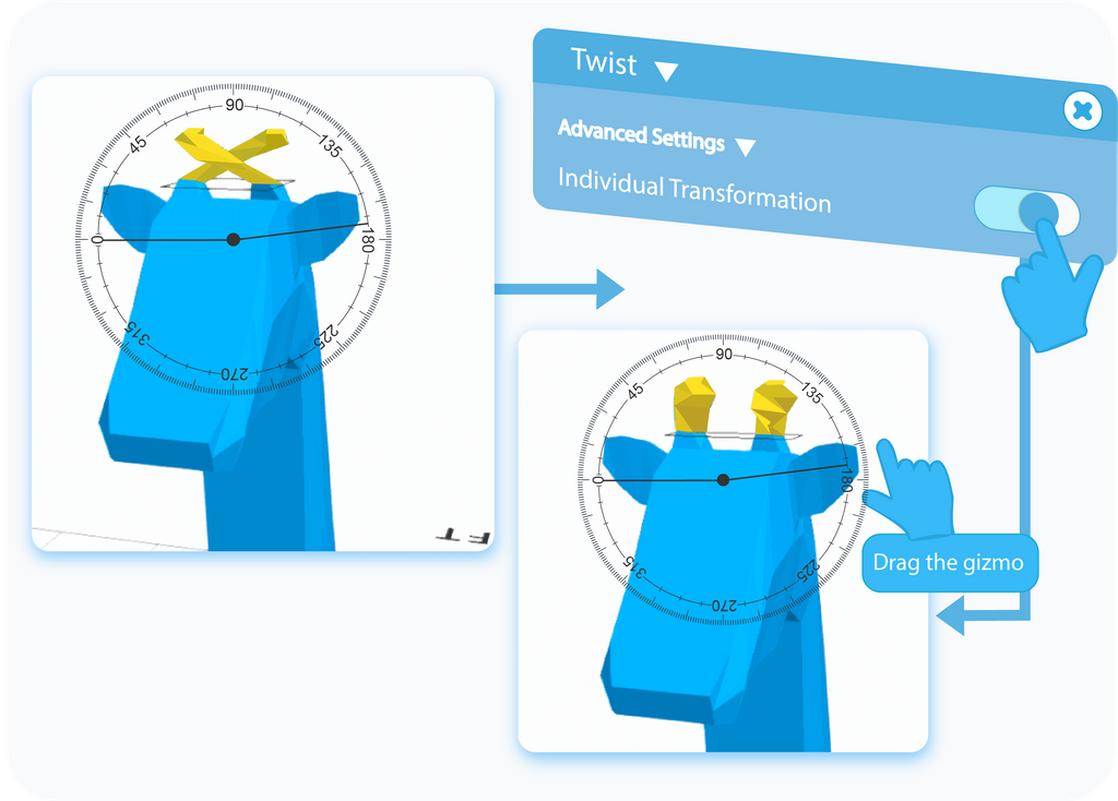 Toggle to enable the Individual Transformation option in the Advanced Settings of the Twist tool