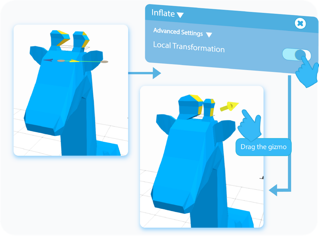 Toggle to enable the Local Transformation setting for the Inflate