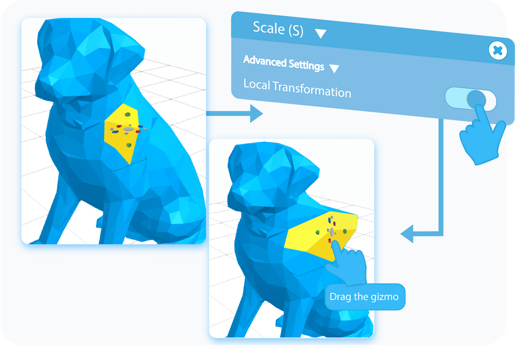 Toggle to enable the Local Transformation option in the Advanced Settings of the Scale tool