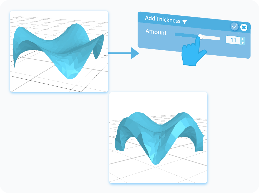 Customizing the Amount feature for Add Thickness tool