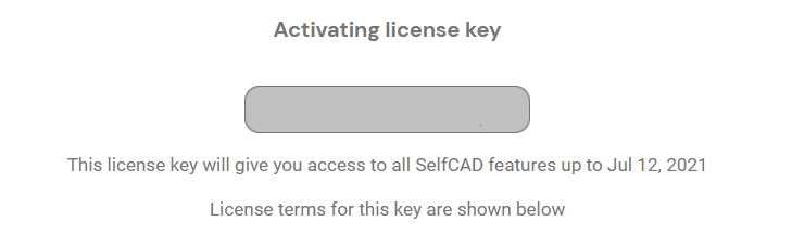 Notification showing the terms of the license