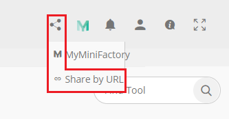 You will find the option to share your models with other in the top panel on the right, with other user options